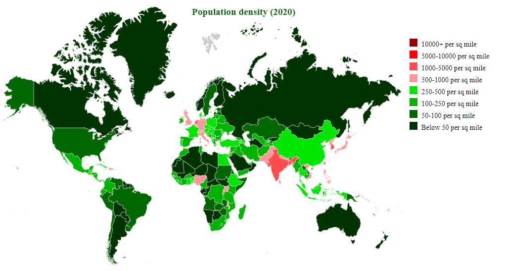 Countries by Population Density 2019 - StatisticsTimes com