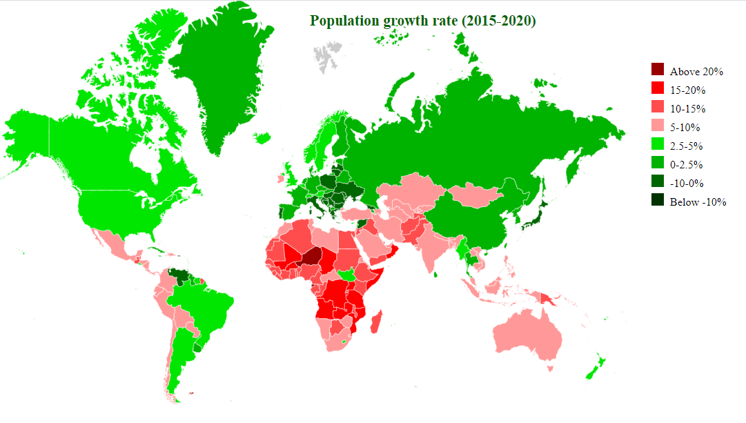 countries by population growth 2015-2020