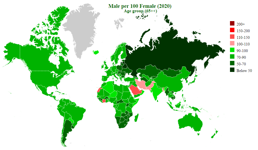 countries by sex ratio (65++)