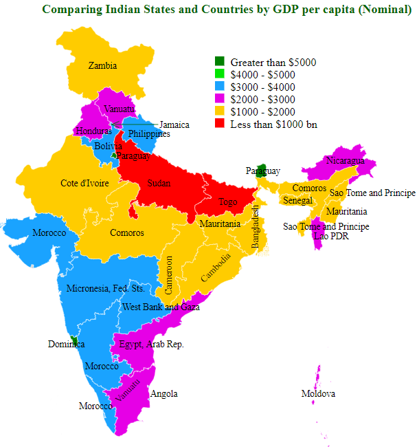 Comparing Indian States and Countries by GDP per capita (Nominal)