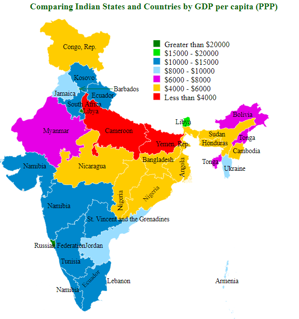 Comparing Indian States and Countries by GDP per capita (ppp)