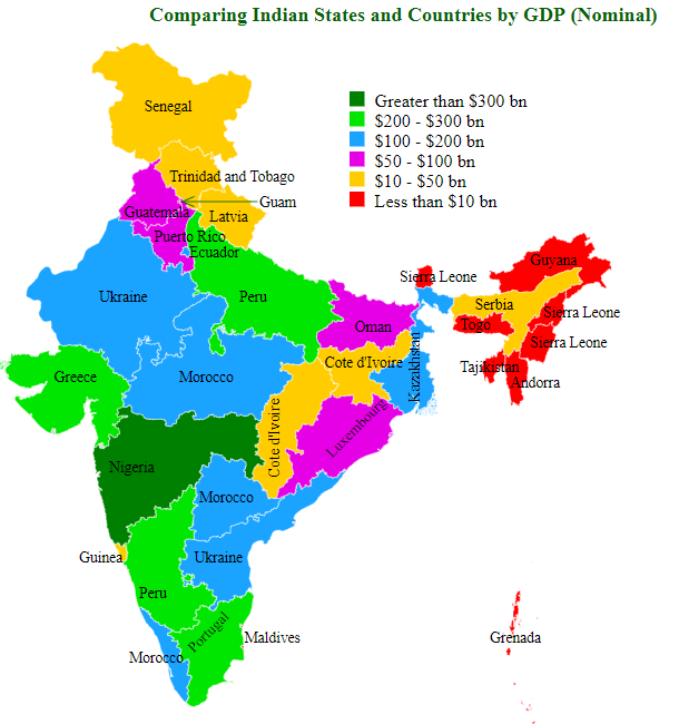 Comparing Indian States and Countries by GDP (Nominal)