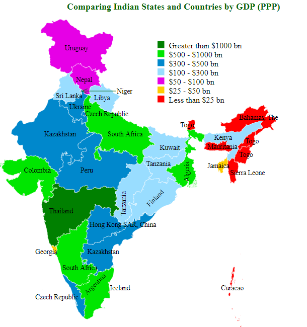 Comparing Indian States and Countries by GDP (ppp)