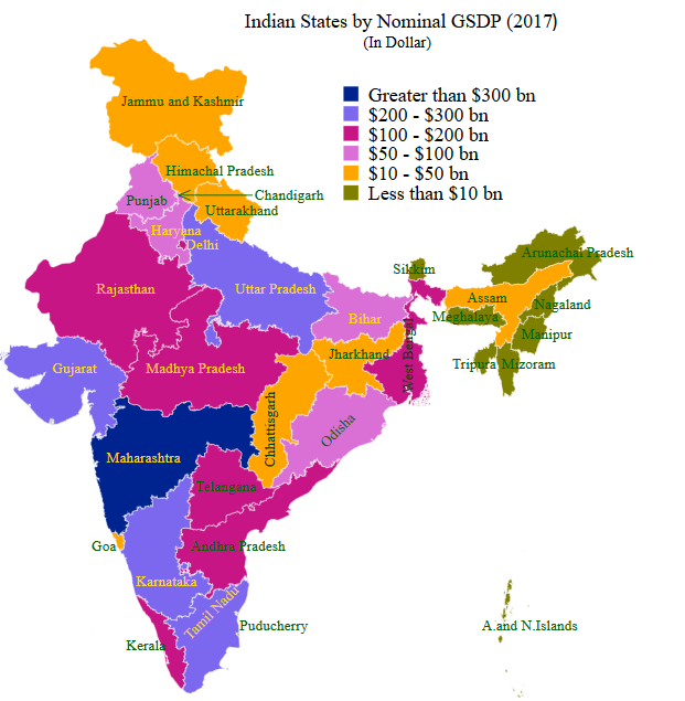 Indian states by GSDP in dollar (map)