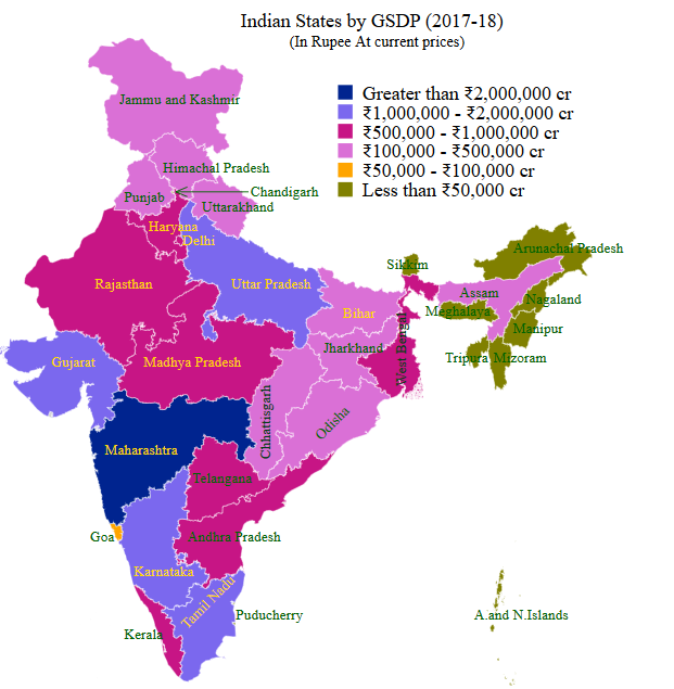 GDP Of Indian States Indian States GDP StatisticsTimescom - Gsp by state us map 2010