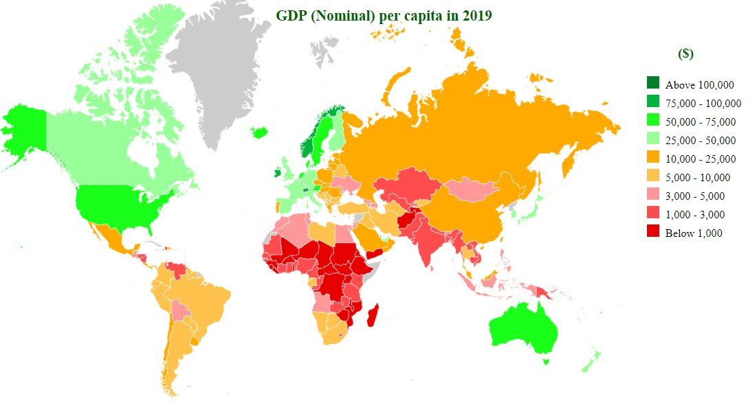 Countries by GDP (nominal) per capita 2018 - StatisticsTimes com