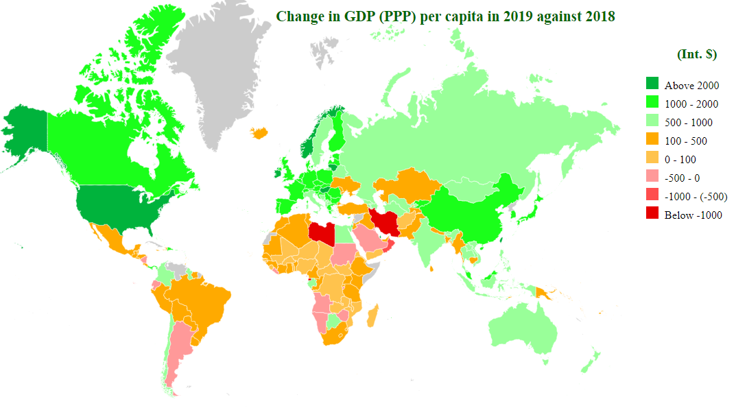 change in gdp (ppp) per caita in 2018 map
