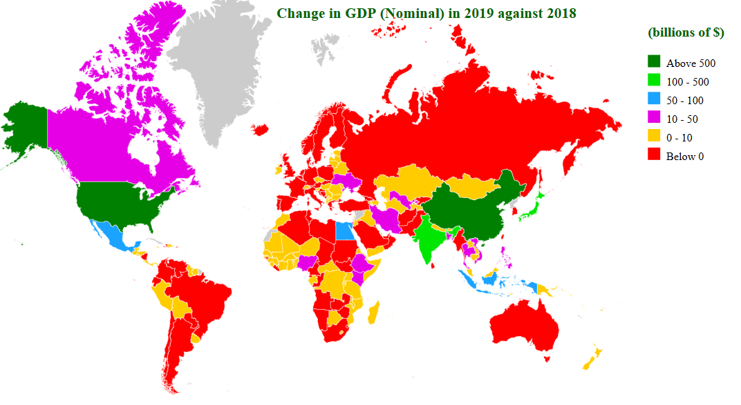 change in gdp (nominal) in 2019 map